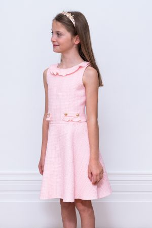 parfait pink tweed birthday dress
