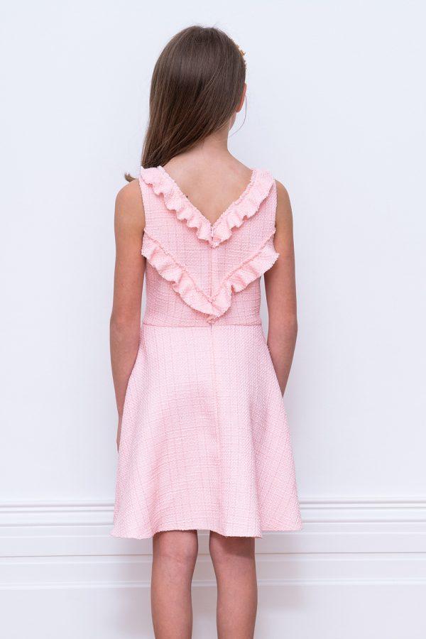 parfait pink tweed birthday dress