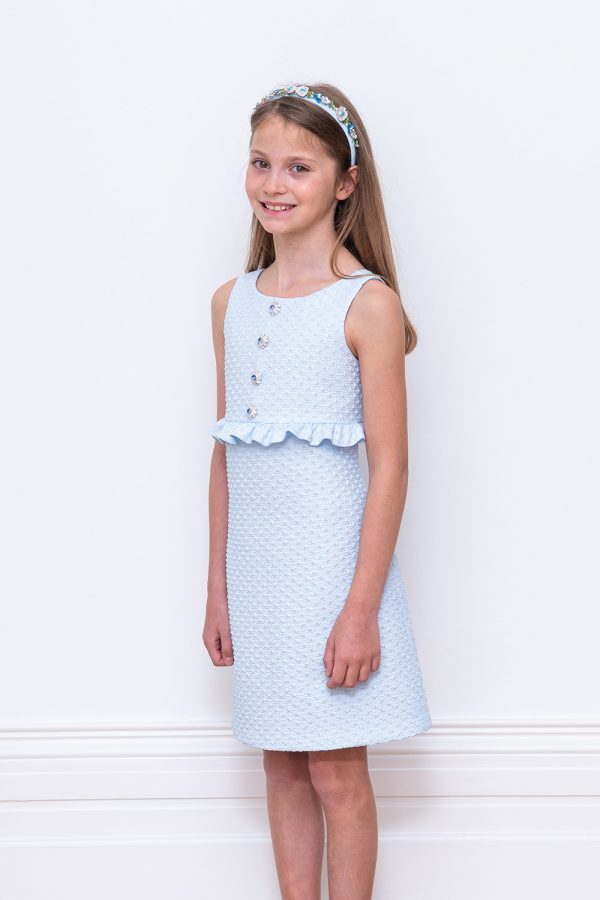 pale blue jewelled shift dress