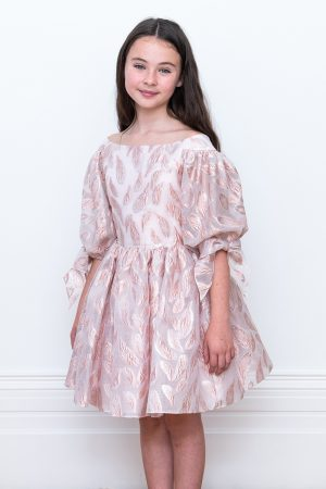 metallic pink leaf party gown