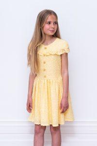 yellow boucle birthday dress
