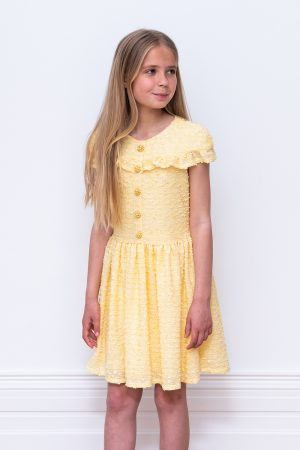 yellow boucle birthday dress