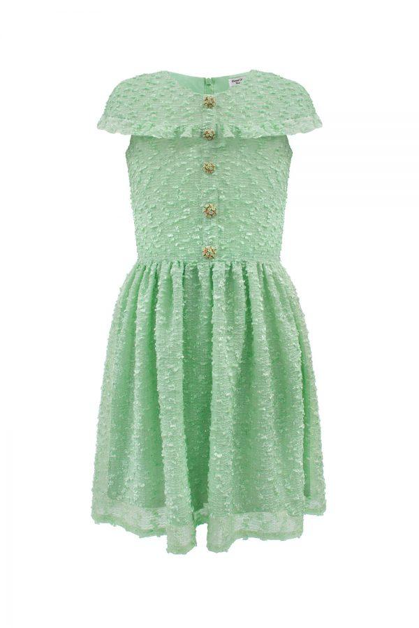aqua jewelled boucle gown