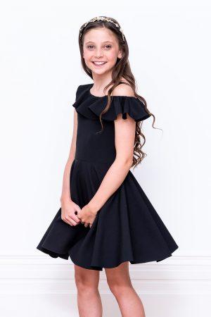 black frill prom dress