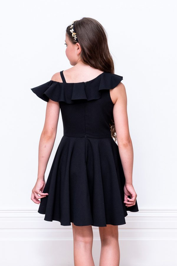 black frill prom dress