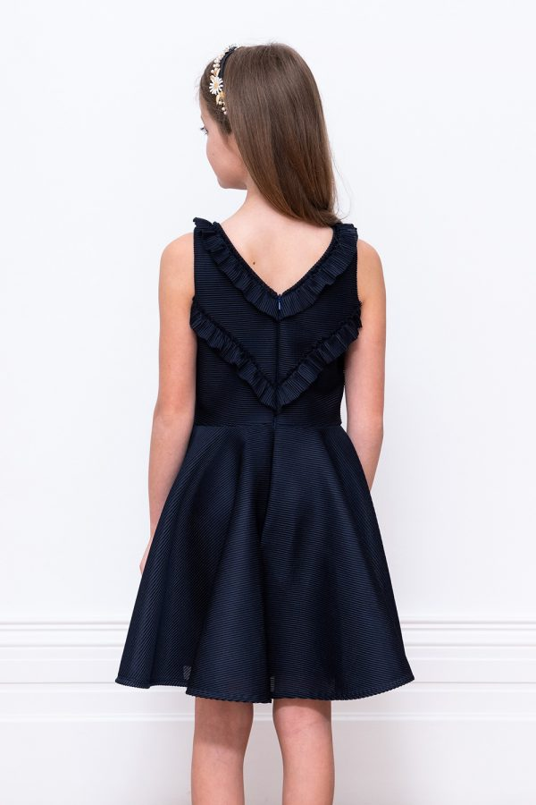navy ruffle trim formal gown