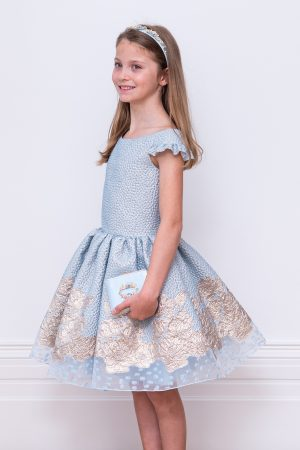 blue jacquard ball gown