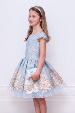 blue jacquard ball gown