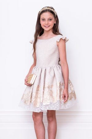 ivory jacquard ball gown