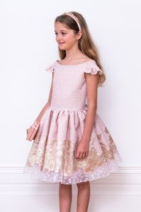 pink jacquard ball gown