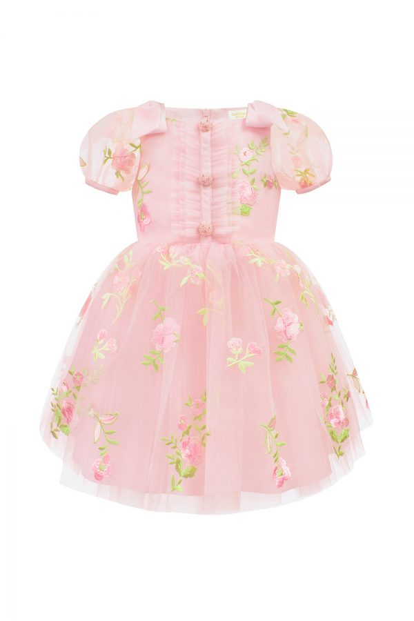 petal pink flower girl gown
