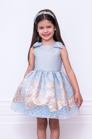 blue brocade party gown