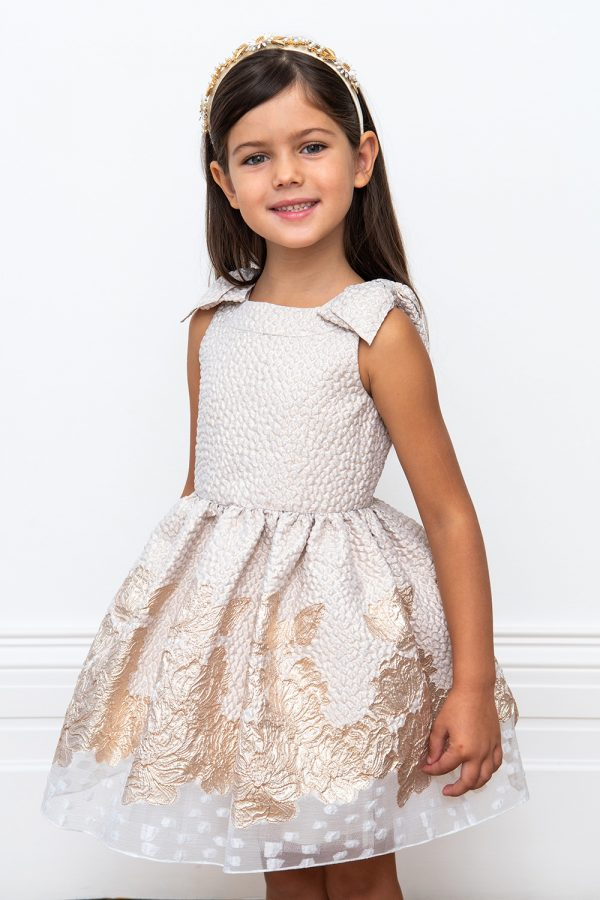 ivory brocade party gown