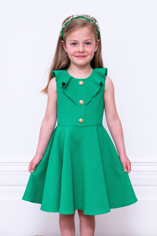 green formal frill dress