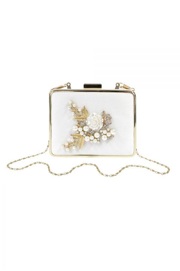 ivory pearl rose box bag