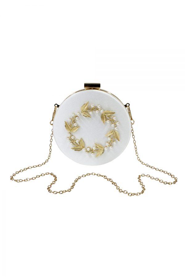 embellished ivory pearl bag