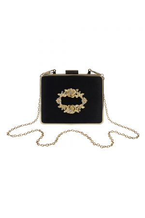 black satin jewelled box bag