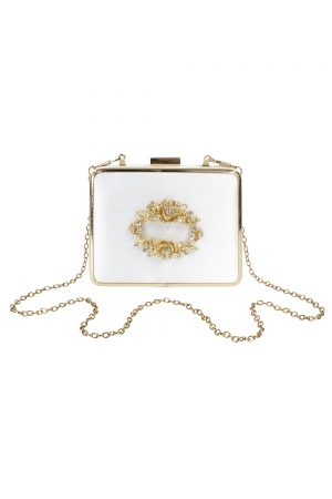 embellished ivory satin box bag
