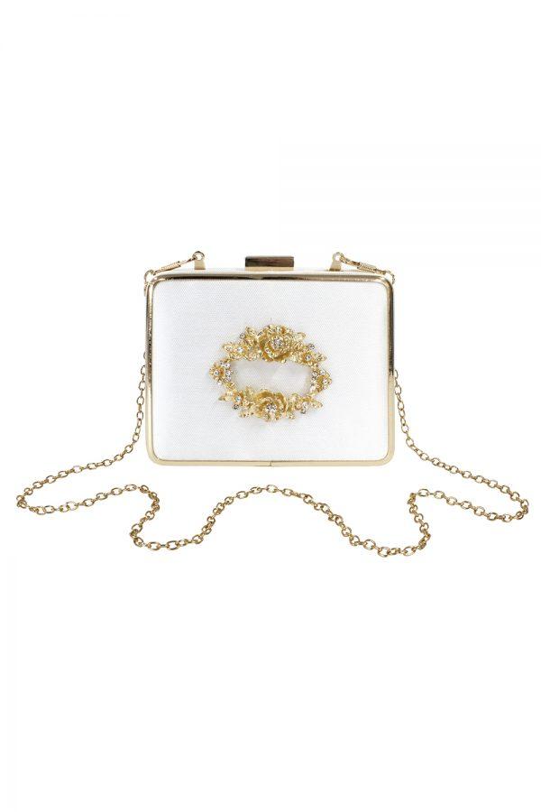 embellished ivory satin box bag