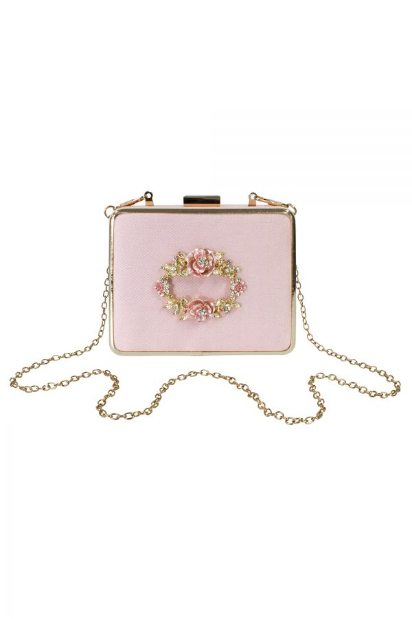 ballet pink jewelled box bag