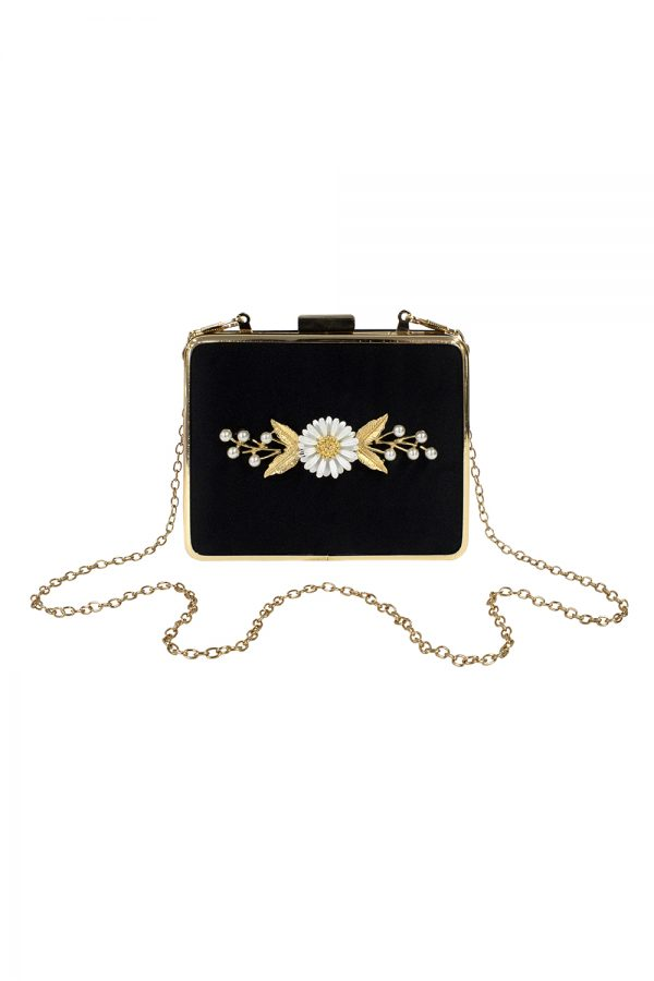black velvet daisy clutch