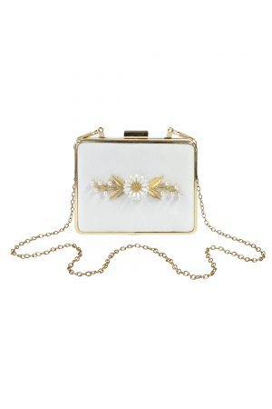 ivory satin daisy clutch