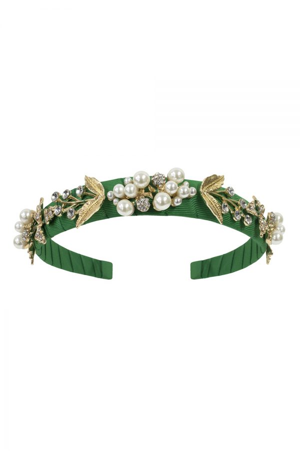 green pearl embellished Alice band