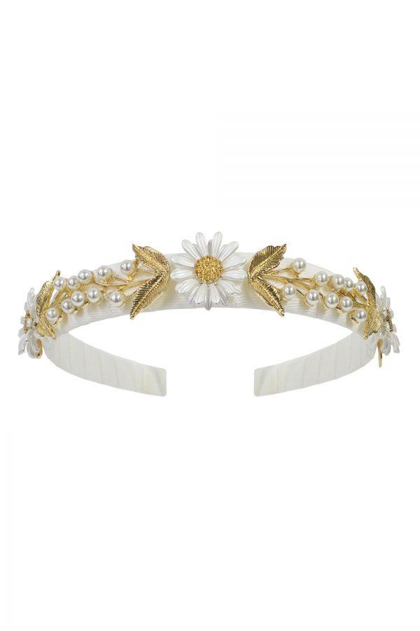 ivory daisy pearl hair band