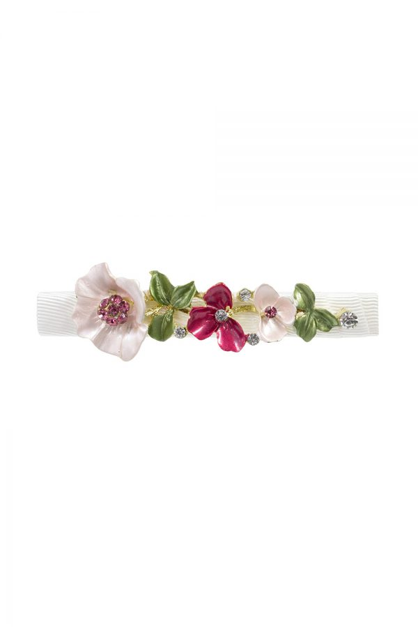 ivory and pink flower hair clip