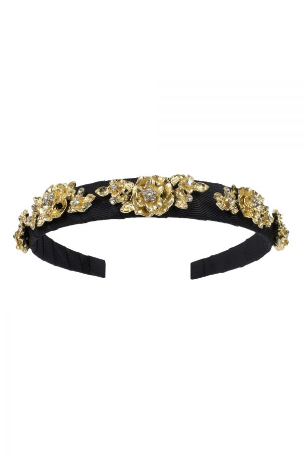 black and gold rose Alice band