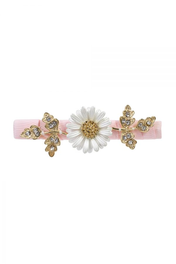 think pink daisy hair clip