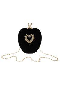 Black Velvet Apple Clutch Bag