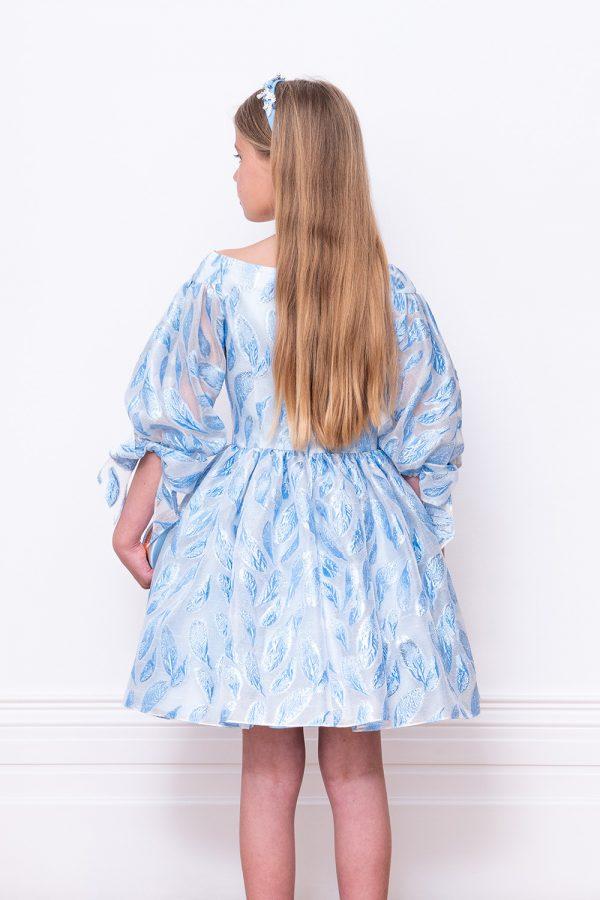 powder blue leaf ball gown