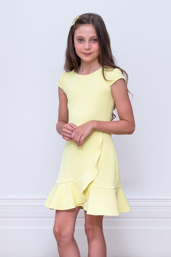 lemon yellow waterfall dress