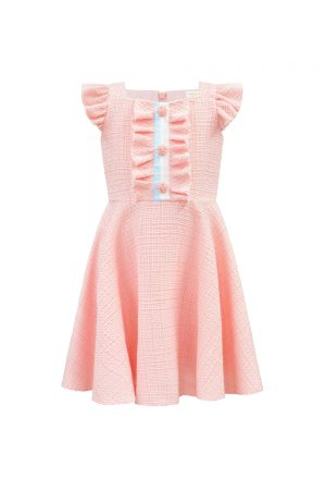 parfait pink tweed tea dress