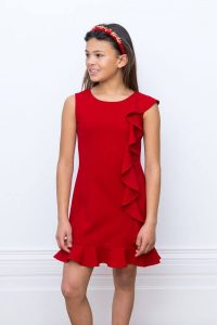 Red Asymmetric Frill Dress
