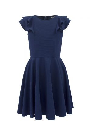 navy formal frill dress
