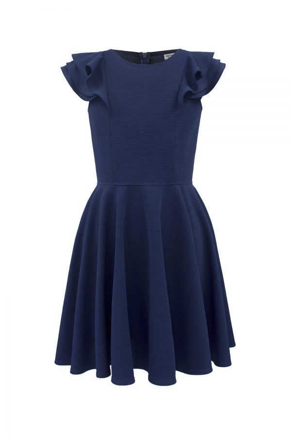 navy formal frill dress