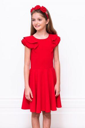 scarlet red formal frill dress