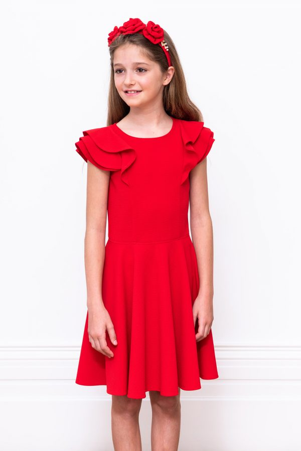 scarlet red formal frill dress
