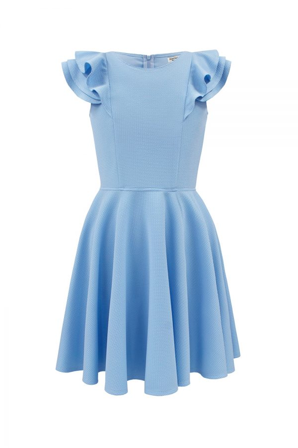 blue frill birthday dress