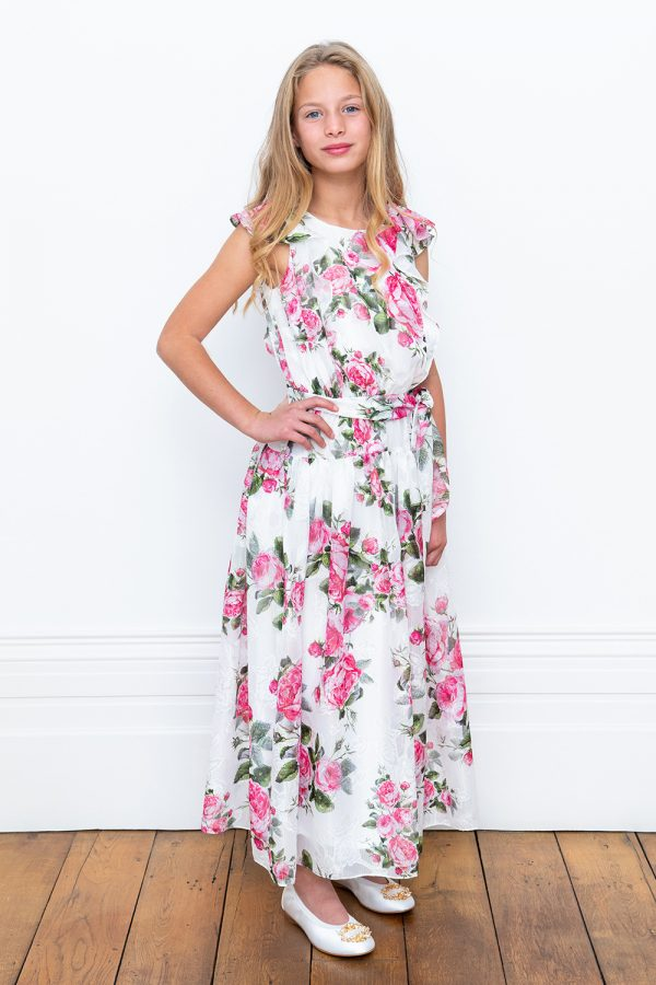 long ivory floral bridesmaid dress