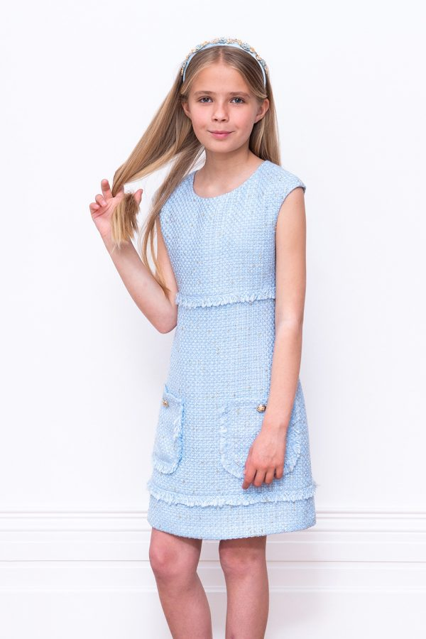 pale blue tweed shift dress