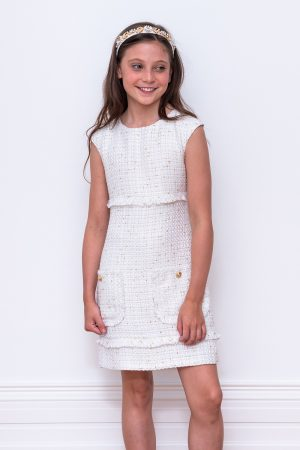 ivory tweed shift dress