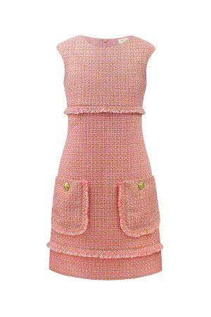 blush pink tweed shift dress