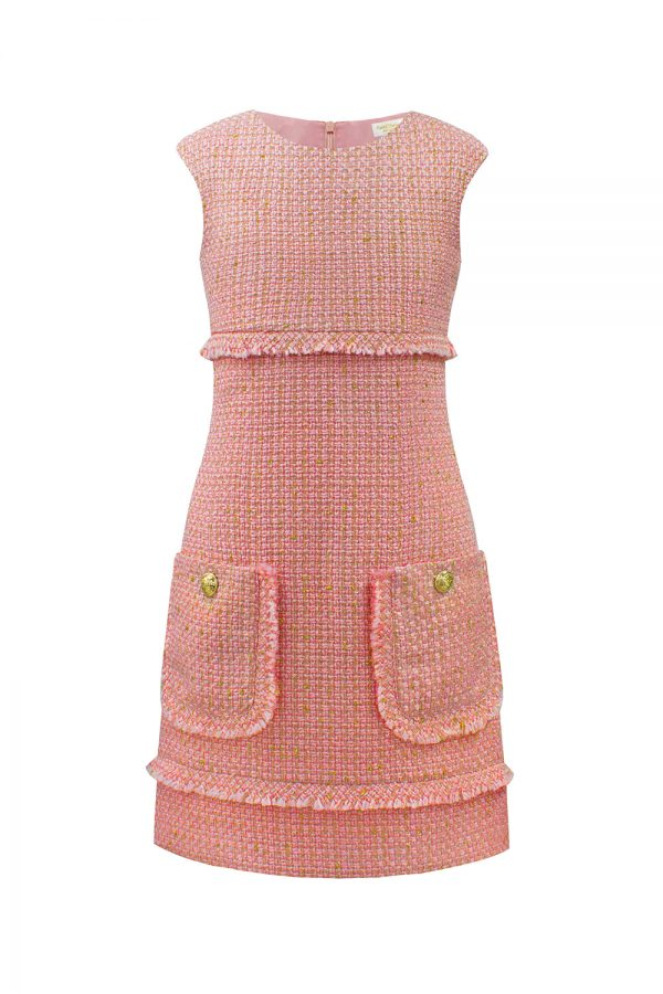 blush pink tweed shift dress