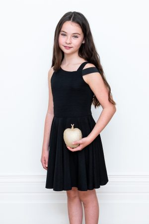 black asymmetric dinner dress