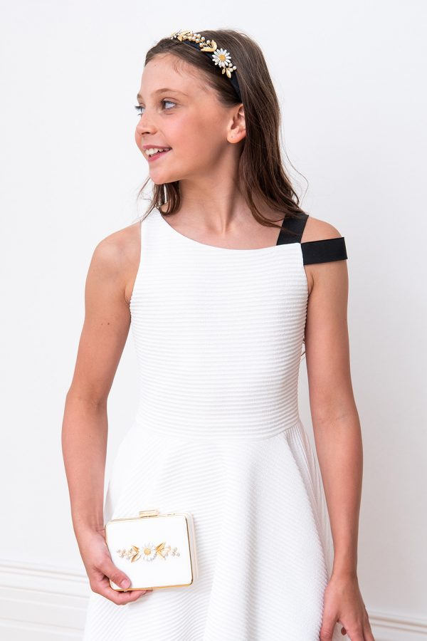 ivory asymmetric contrast dress