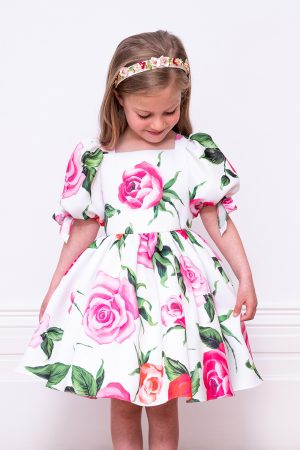 ivory and pink rose dress