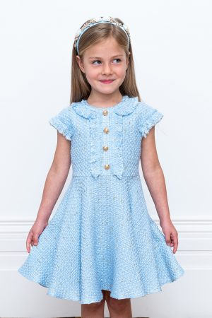 powder blue tweed dress